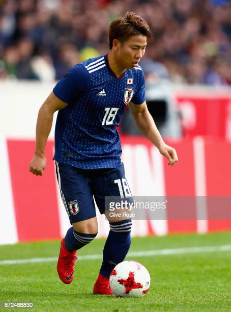 Takuma Asano of Japan in action during the international friendly match between Brazil and Japan at Stade PierreMauroy on November 10 2017 in Lille...