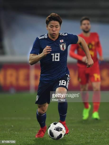 Takuma Asano of Japan in action during the international friendly match between Belgium and Japan at Jan Breydel Stadium on November 14 2017 in...