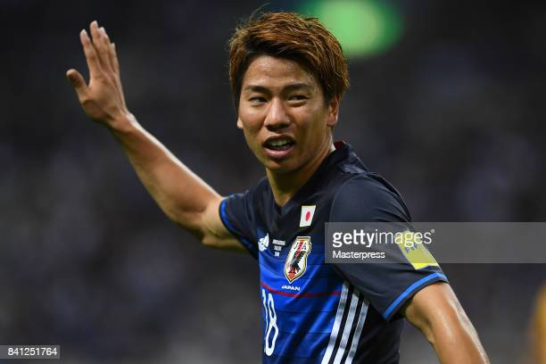 Takuma Asano of Japan looks on during the FIFA World Cup Qualifier match between Japan and Australia at Saitama Stadium on August 31 2017 in Saitama...