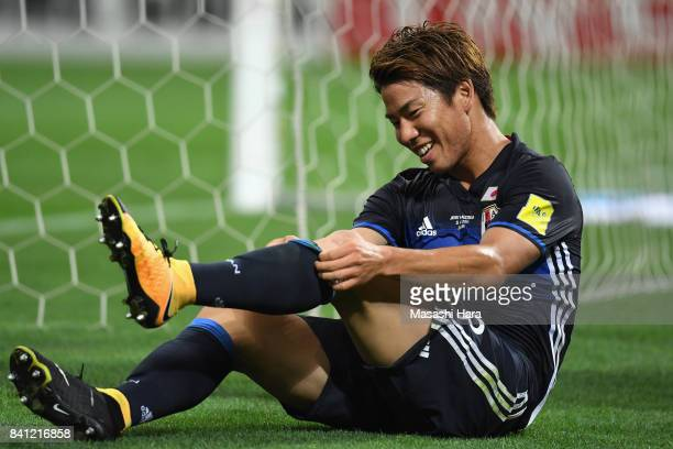 Takuma Asano of Japan reacts during the FIFA World Cup Qualifier match between Japan and Australia at Saitama Stadium on August 31 2017 in Saitama...