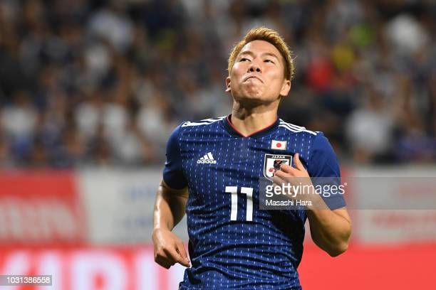 Takuma Asano of Japan reacts during the international friendly match between Japan and Costa Rica at Suita City Football Stadium on September 11 2018...