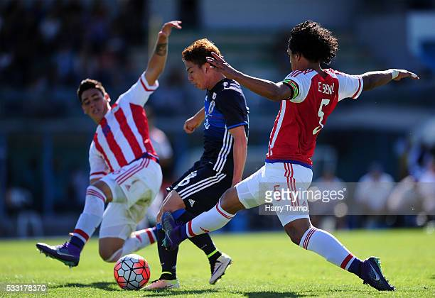 Takuma Asano of Japan scores his sides first goal during the Toulon Tournament match between Japan and Paraguay at Stade De Lattre on May 21 2016 in...