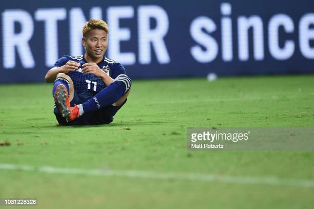 Takuma Asano of Japan smiles during the international friendly match between Japan and Costa Rica at Suita City Football Stadium on September 11 2018...