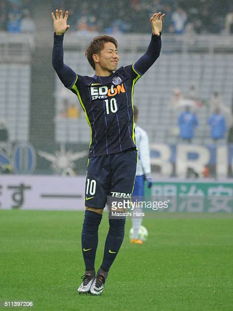 Takuma Asano of Sanfrecce Hiroshima celebrates the second goal during the FUJI XEROX SUPER CUP 2016 match between Sanfrecce Hiroshima and Gamba Osaka...