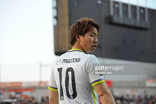 Takuma Asano of Sanfrecce Hiroshima looks on during the JLeague match between Omiya Ardija and Sanfrecce Hiroshima at the Nack 5 Stadium Omiya on...