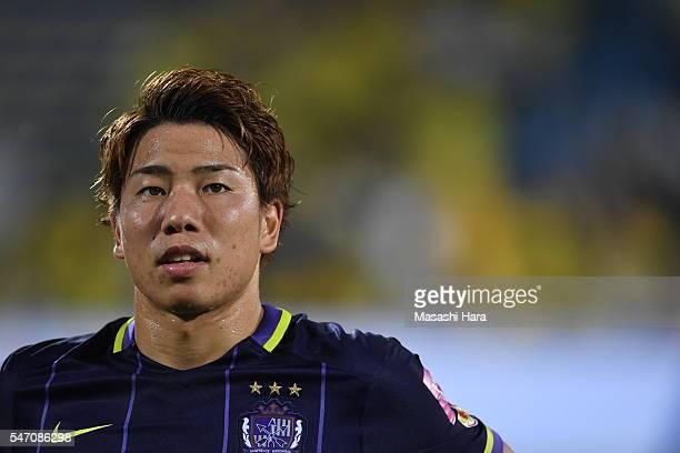 Takuma Asano of Sanfrecce Hiroshima looks on prior to the JLeague match between Kashiwa Reysol and Sanfrecce Hiroshima at the Hitachi Kashiwa Soccer...