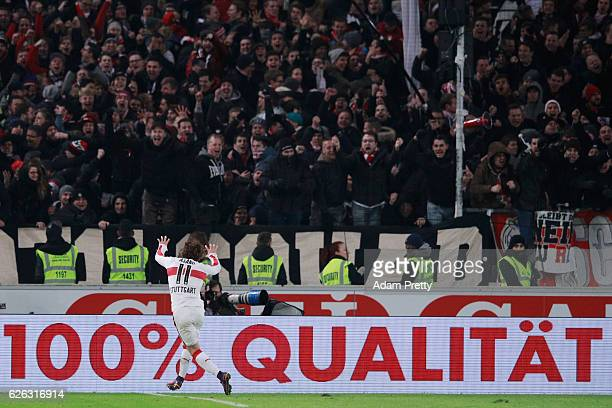Takuma Asano of Stuttgart celebrates his team's third goal during the Second Bundesliga match between VfB Stuttgart and 1 FC Nuernberg at...