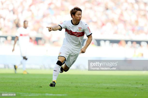 Takuma Asano of Stuttgart gestures during the Bundesliga match between VfB Stuttgart and 1 FSV Mainz 05 at MercedesBenz Arena on August 26 2017 in...