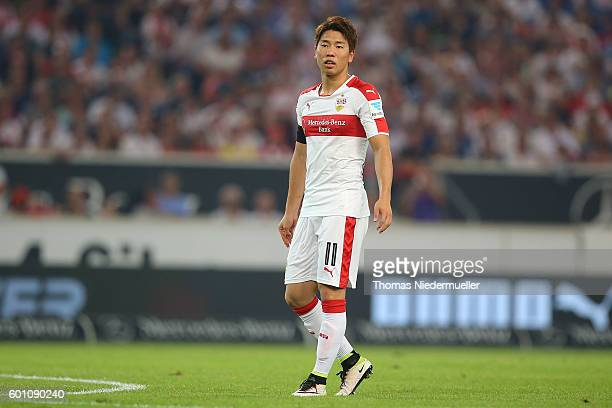Takuma Asano of Stuttgart looks on during the Second Bundesliga match between VfB Stuttgart and 1 FC Heidenheim 1846 at MercedesBenz Arena on...