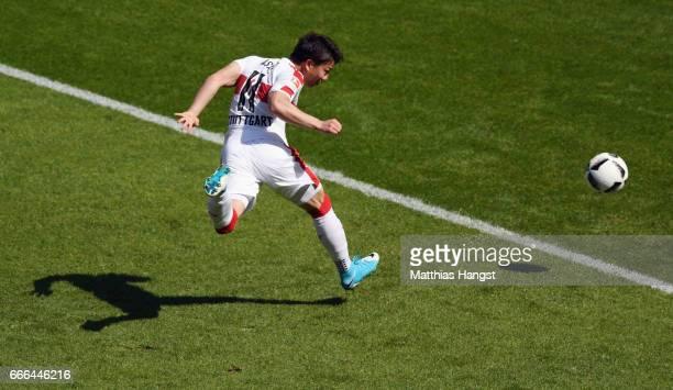 Takuma Asano of Stuttgart scores his team's first goal during the Second Bundesliga match between VfB Stuttgart and Karlsruher SC at MercedesBenz...