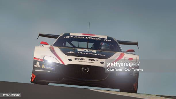 Takuma Miyazono of Japan in action during the Nations Cup grand final of the FIA Gran Turismo World Tour 2020 Finals run at the virtual Le Mans...