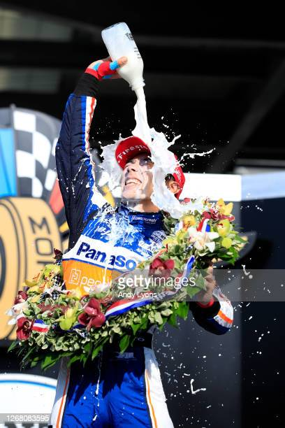 Takuma Sato, driver of the Panasonic / PeopleReady Rahal Letterman Lanigan Racing Honda, celebrates in Victory Lane after winning the 104th running...