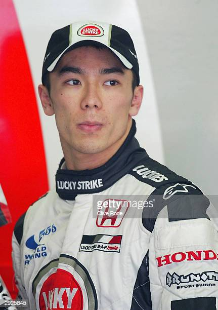 Takuma Sato of Japan and BAR in the team garage during testing with the new BAR Honda 006 at the Circuit de Catalunya on February 3 2004 in Barcelona...