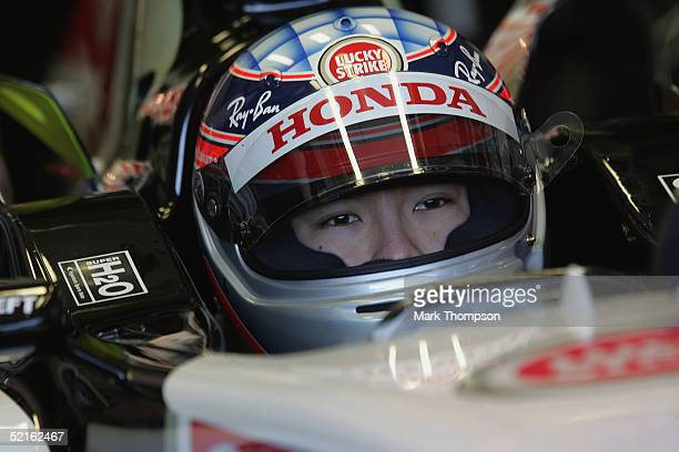 Takuma Sato of Japan and BAR sits in his cockpit during testing at Circuito de Jerez on February 9 2005 in Jerez Spain