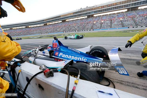 Takuma Sato of Japan driver of the ABeam Consulting Honda crashes in the pits during the NTT IndyCar Series DXC Technology 600 at Texas Motor...