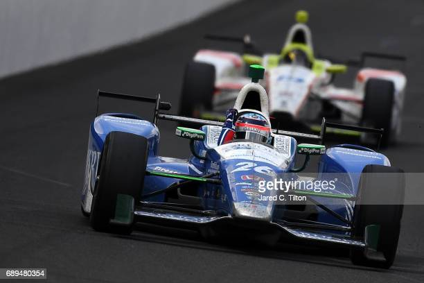 Takuma Sato of Japan driver of the Andretti Autosport Honda races during the 101st Indianapolis 500 at Indianapolis Motorspeedway on May 28 2017 in...