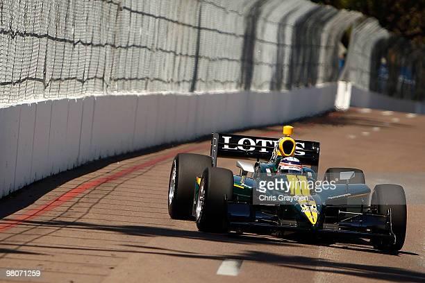 Takuma Sato of Japan driver of the KV Racing Technology Dallara Honda drives during practice for the IndyCar Series Honda Grand Prix of St Petersburg...