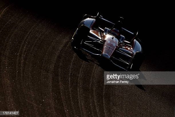 Takuma Sato of Japan drives the ABC Supply AJ Foyt Racing Honda during practice for the IZOD IndyCar Series Firestone 550 at Texas Motor Speedway on...