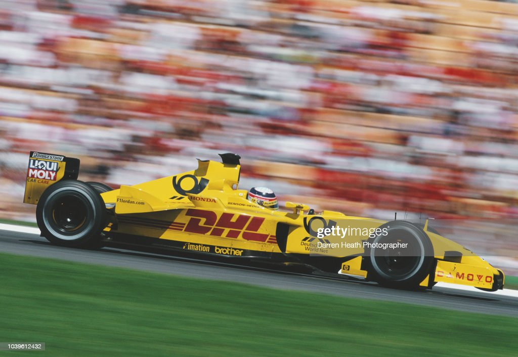 Takuma Sato of Japan driving the #10 DHL Jordan HondaJordan EJ12 Honda RA002E V10 during the Formula One German Grand Prix on 28 July 2002 at the Hockenheimring, Hockenheim, Germany.