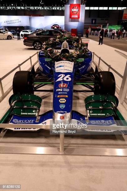 Takuma Sato's 2017 Indianapolis 500 winning IndyCar is on display at the 110th Annual Chicago Auto Show at McCormick Place in Chicago Illinois on...
