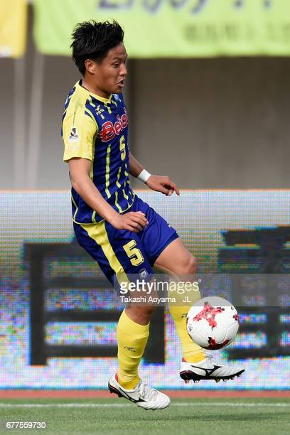 Takumi Abe of Thespa Kusatsu Gunma in action during the JLeague J2 match between Thespa Kusatsu Gunma and FC Gifu at Shoda Shoyu Stadium on May 3...