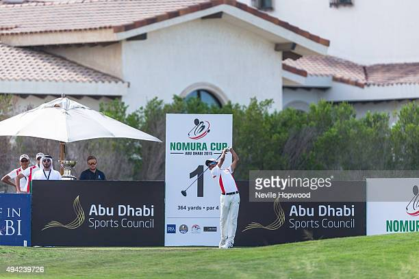 Takumi Kanaya of Japan during the fourth round of the 27th Nomura Cup/Asia-Pacific Amateur Golf Team Championship at Yas Links Golf Course on October...