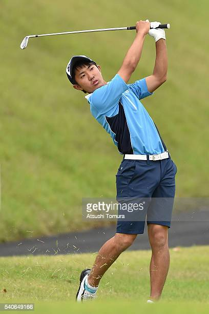 Takumi Kanaya of Japan hits his second shot on the 5th hole during the third round of 2016 TOYOTA Junior Golf World Cup at Ishino Course Chukyo Golf...