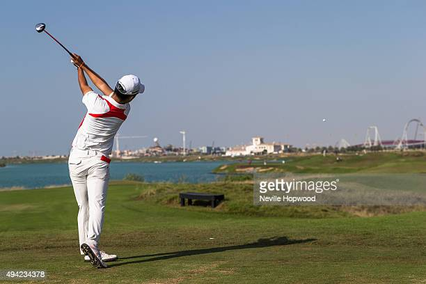 Takumi Kanaya of Japan tees off. During the fourth round of the 27th Nomura Cup/Asia-Pacific Amateur Golf Team Championship at Yas Links Golf Course...