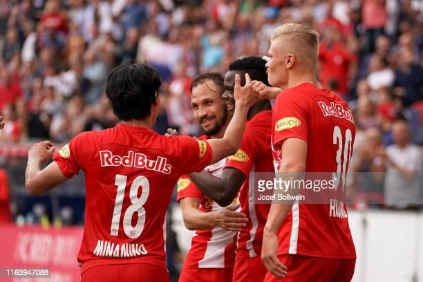 Takumi Minamino Andreas Ulmer Patson Daka and Erling Braut Haland of RB Salzburg celebrate after scoring a goal during the tipico Bundesliga match...