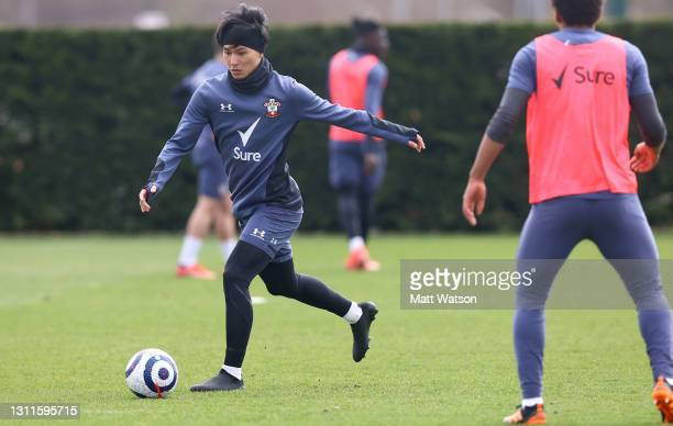 Takumi Minamino during a Southampton FC training session at the Staplewood Campus on April 08, 2021 in Southampton, England.