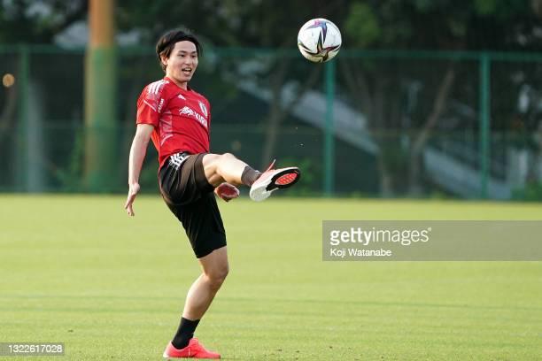 Takumi Minamino in action during the Japan training session on June 08, 2021 in Suita, Osaka, Japan.