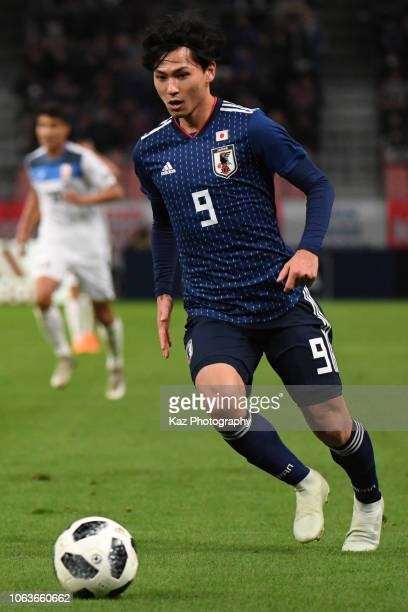 Takumi Minamino of Japan controls the ball during the international friendly match bewteen Japan and Kyrgyz at Toyota Stadium on November 20 2018 in...