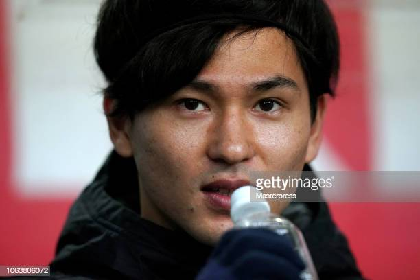 Takumi Minamino of Japan drinks water during the international friendly match between Japan and Kyrgyz at Toyota Stadium on November 20 2018 in...