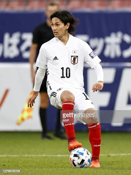 Takumi Minamino of Japan during the friendly match between Japan and Ivory Coast at Stadion Galgenwaard on October 13, 2020 in Utrecht, Netherlands....