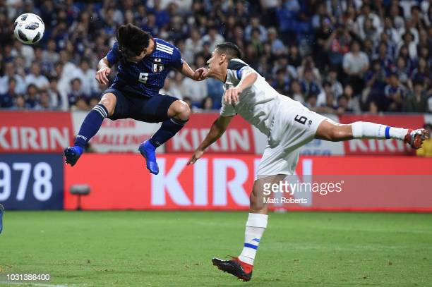 Takumi Minamino of Japan heads to ball towards the goal during the international friendly match between Japan and Costa Rica at Suita City Football...