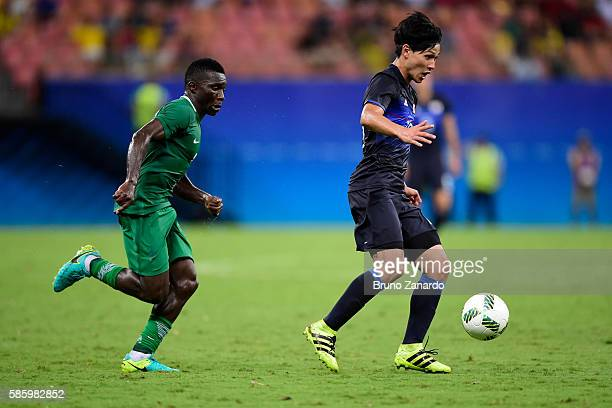 Takumi Minamino of Japan in action during 2016 Summer Olympics match between Japan and Nigeria at Arena Amazonia on August 4 2016 in Manaus Brazil
