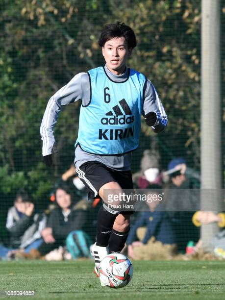 Takumi Minamino of Japan in action during a training match between Japan and Ryutsu Keizai University at the Daiichi Cutter Field on December 30 2018...