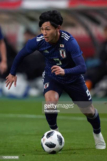 Takumi Minamino of Japan in action during the international friendly match between Japan and Kyrgyz at Toyota Stadium on November 20 2018 in Toyota...