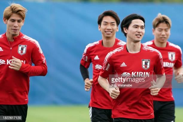 Takumi Minamino of Japan in action during the Japan training session on June 08, 2021 in Suita, Osaka, Japan.