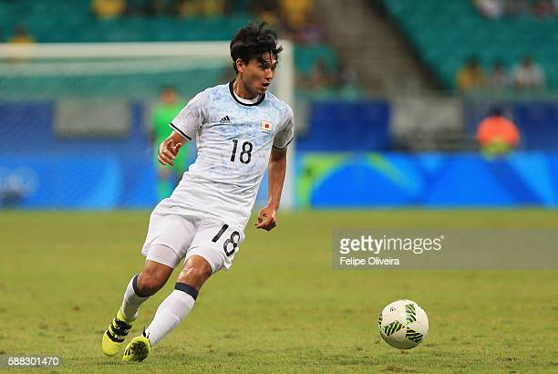 Takumi Minamino of Japan in action during the Men's Football Group B match between Japan and Sweden at Arena Fonte Nova on August 10, 2016 in...