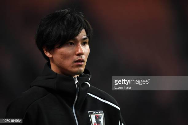 Takumi Minamino of Japan looks on after the international friendly match between Japan and Kyrgyz at Toyota Stadium on November 20 2018 in Toyota...