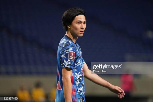 Takumi Minamino of Japan reacts during the FIFA World Cup Asian Qualifier 2nd round Group F match between Japan and Tajikistan at Panasonic Stadium...