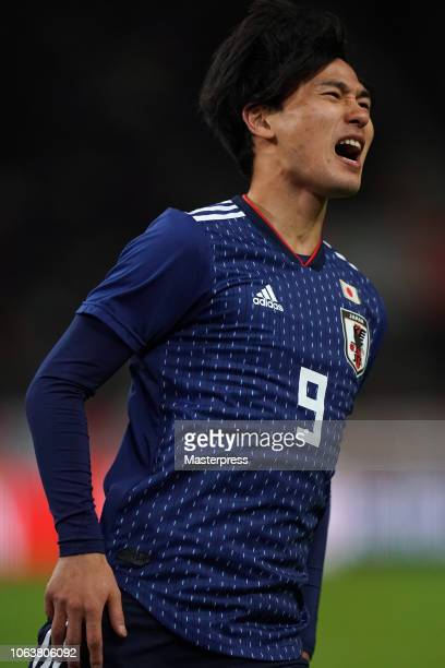 Takumi Minamino of Japan reacts during the international friendly match between Japan and Kyrgyz at Toyota Stadium on November 20 2018 in Toyota...
