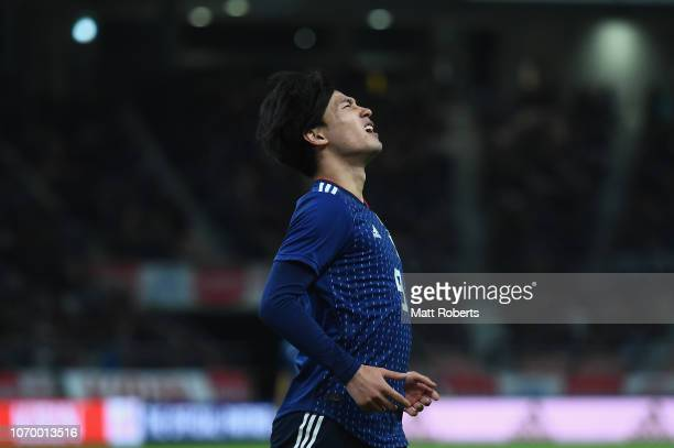 Takumi Minamino of Japan reacts during the international friendly match bewteen Japan and Kyrgyz at Toyota Stadium on November 20 2018 in Toyota...