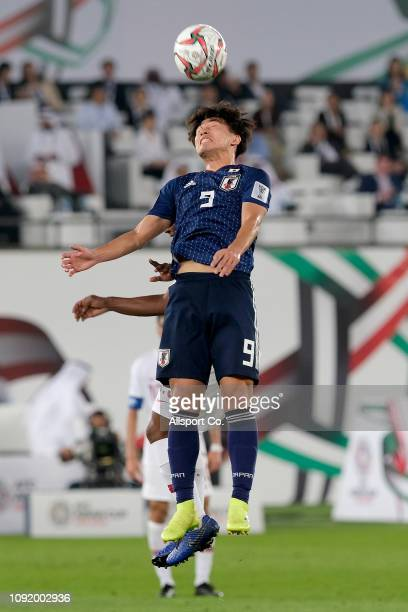 Takumi Minamino of Japn heads the ball during the AFC Asian Cup final match between Japan and Qatar at Zayed Sports City Stadium on February 1 2019...