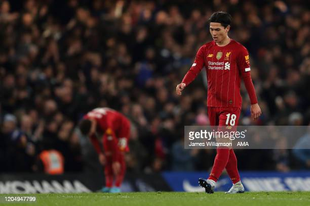 Takumi Minamino of Liverpool dejected after Willian of Chelsea scored a goal to make it 1-0 during the FA Cup Fifth Round match between Chelsea FC...