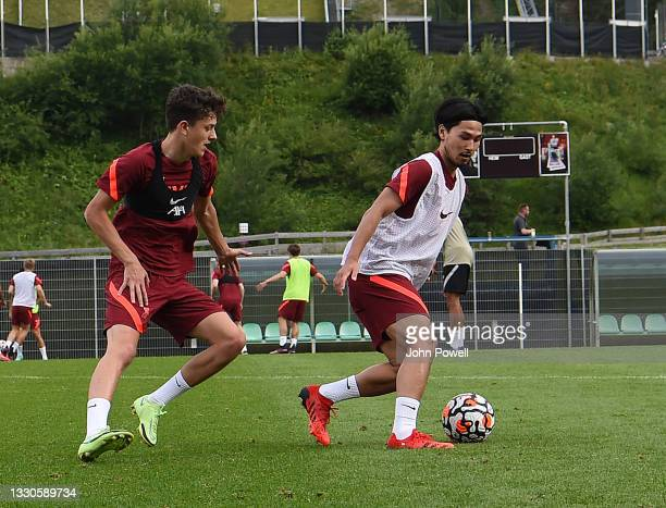 Takumi Minamino of Liverpool during a training session on July 25, 2021 in UNSPECIFIED, Austria.