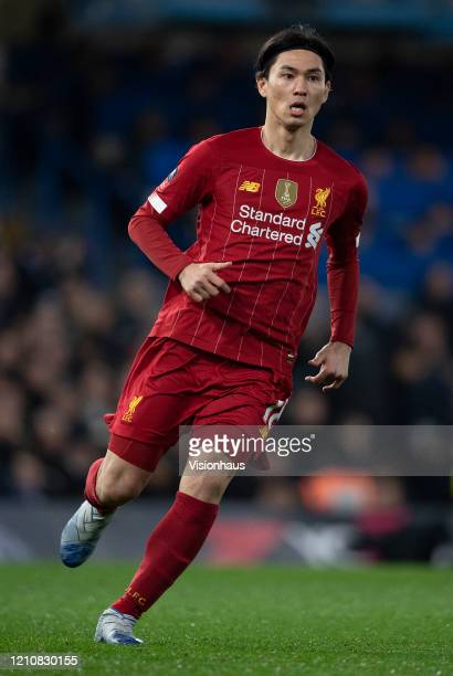 Takumi Minamino of Liverpool during the FA Cup Fifth Round match between Chelsea FC and Liverpool FC at Stamford Bridge on March 03 2020 in London...