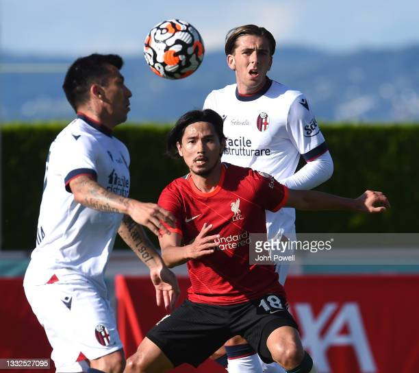 Takumi Minamino of Liverpool during the Pre Season match between Liverpool and Bologna on August 05, 2021 in Evian-les-Bains, France.