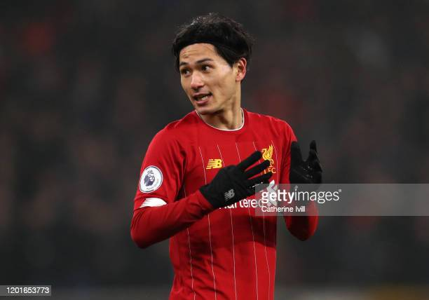 Takumi Minamino of Liverpool during the Premier League match between Wolverhampton Wanderers and Liverpool FC at Molineux on January 23, 2020 in...